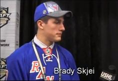 Team USA defenseman Brady Skjei talks to Bart Logan after being selected overall by the New York Rangers in the 2012 NHL Draft. Skjei has spent the past. Nhl Players, New York Rangers, Team Usa, Scores, My Boys, Hockey, Seasons, Baseball Cards, My Children