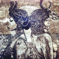 LA's Art District is full of fantastic #street art. This gem on 4th & Merrick was done by Fin DAC and Dtoar. Gorgeous. Discovered by Kristin Rust at St Crawford Inc, #Los Angeles, #California