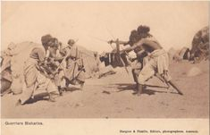 Ethnographic Arms & Armour - Period Photos of People with Ethnographic ArmsWhere: Sudan When: Unknown, early 1900s? Who: Bisharin warriors (sub group of Beja) Weapons visible: Spears, kaskara Source if known: French post card