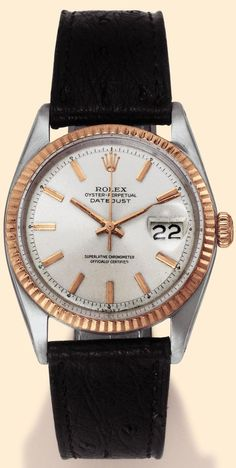 """Rolex, Oyster Perpetual """"Datejust"""", Superlative Chronometer, Officially Certified, Ref. 1601. Produced in 1967. Fine, center-seconds, self-winding, water-resistant, stainless steel and pink gold gentleman's wristwatch with date."""
