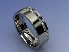 Sonderanfertigung von Kodega (CAD Zeichnung) - Memory Ring mit Diamanten im Prinzess Schliff