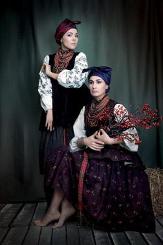 """""""Sincere"""" project. Clothes of married women from Poltava region, late XIX - early XX century. Jewelry - coral with silver accents, Dukach (coin), Venetian glass necklace, which was expensive and symbolize prosperity in the family. Dressed: Elena Shoptenko (dancer) and Kasha Saltsova (singer, journalist)."""