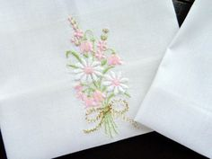 White cotton vintage handkerchief with embroidered flowers set