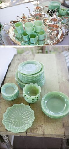 Vintage Kitchen omg that color. beautiful green vintage glassware - A Day At The Races Inspired Bridal Shower photographed by Bri Morse Imagery and designed by Primrose and Company Antique Glassware, Vintage Kitchenware, Vintage Dishes, Vintage China, Vintage Green, Vintage Decor, Vintage Pyrex, Vintage Dinnerware, Vintage Bowls