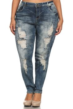 e81c3bc59a6 Plus Size Distressed Boyfriend Denim Faded Jeans