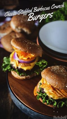 Cheese Stuffed Barbecue Crunch Burgers w/ Kraft Barbecue Sauce #ad #Evergriller | GirlCarnivore.com