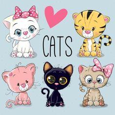 Cartoon Drawings, Animal Drawings, Cartoon Cats, Cartoon Illustrations, Cute Cartoon Animals, Kittens Cutest, Cute Cats, Funny Cats, Cartoon Mignon
