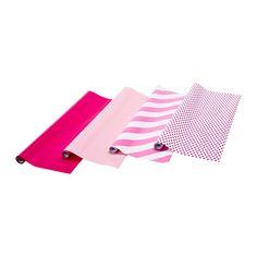 €5.99 /4kpl FRAMSTÄLLA Lahjapaperirulla, eri kuvioita roosa