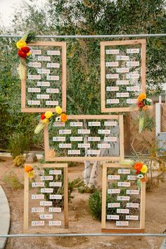 seating chart display, photo by Sweet Little Photographs http://ruffledblog.com/modern-palm-springs-wedding #seatingcharts #weddingideas #escortcards