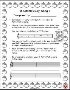 St Patrick's Day Music Composition Activities by MusicTeacherResources   Teachers Pay Teachers