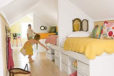 great girls bedroom. elevated beds, 'hidden' drawers. an excellent use of a long room. -- A Pioneer Woman Pick My Presto | The Lettered Cottage
