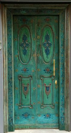 I will paint my garden door like this blue green door from Turkey