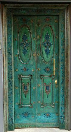 I will paint my garden door like this blue green door from Turkey