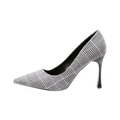 High Heel Checked Cloth Pumps (97 BRL) ❤ liked on Polyvore featuring shoes, pumps, zaful, grey high heel shoes, checkered shoes, high heel shoes, gray shoes and checkerboard shoes