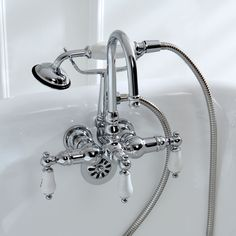 Wall Mount Clawfoot Tub Faucet Handheld Shower. Kingston Brass Americana Wall mount Chrome  Grey Clawfoot Tub Faucet Porcelain Handles Integrate an element of classic style into your bathroom with the
