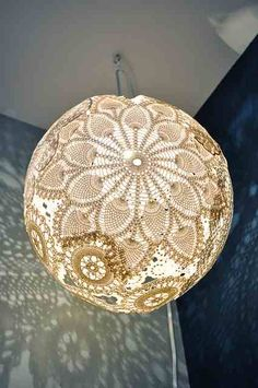 These days so many people are discovering the joy of upcycling old clutter into new treasures! We came across this brilliant idea of using old lace doilies to make gorgeous lampshades! Here are some completed designs that we found and our instructions on how you can easily make this yourself!