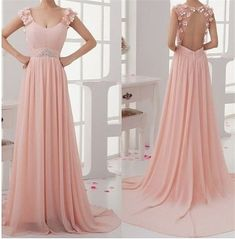 New A-line Long Short Sleeve Appliques Sequins Chiffon Prom Dresses