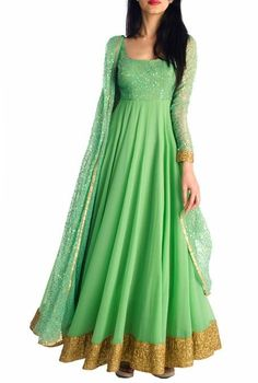 Roposo.com - Latest readymade and flared full-sleeve elegant anarkali-suits with sequins online jade sequinned anarkali