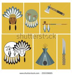 vector illustration of american indian and his equipment - stock vector