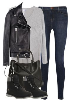 """""""Untitled #1070"""" by mollie-jayne ❤ liked on Polyvore featuring J Brand, Wilt, Acne Studios, Prada, Timberland and Cartier"""