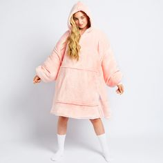 Pink Oodie   Wearable Hooded Blanket – The Oodie UK Gift Wrapping Bows, Pink Blanket, Wearable Blanket, Hooded Blanket, Colorful Hoodies, Exercise For Kids, Mulberry Silk, Piece Of Clothing, Soft Fabrics