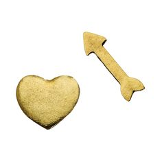 Cute pair of mismatched gold heart and arrow earrings. #Love http://muchlush.kitsylane.com