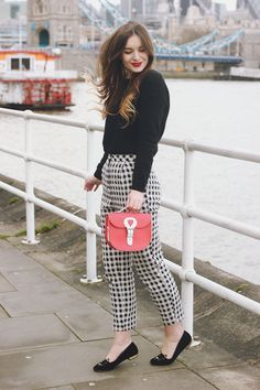 Gingham Trousers, Black Sweater, Black Flats, & a Red Bag