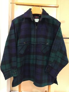 Vtg Johnson Woolen Mills Mackinaw Jacket Red Black Check Plaid Hunting Wool Sz L    eBay