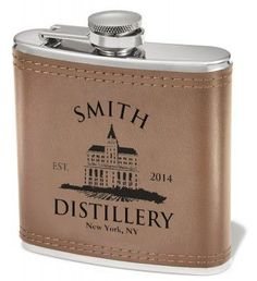 Personalized Leather Wrapped Flask  - Add any name, date and city...