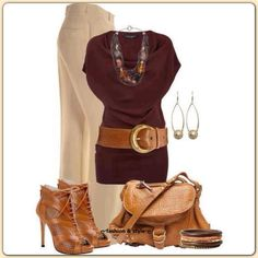 camel trousers & brown top & accessories