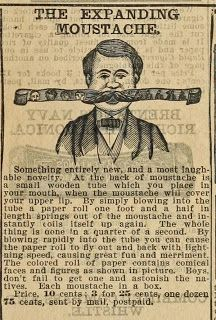 Not quite Poirot's style ... Vintage Ephemera: Catalog advertisement, The Expanding Moustache, 1890