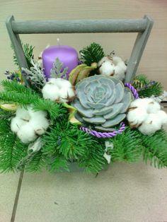 Купить Лавандовый Новый год - сиреневый, цветы в ящике, новогодняя композиция, композиция с лавандой