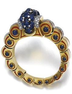 Sapphire, diamond, enamel and gold bangle, Jacques Lacloche, circa 1935. The…