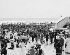 Atlantic City New Jersey Bathing Crowd 1910 Vintage 8x10 Reprint Of Old Photo