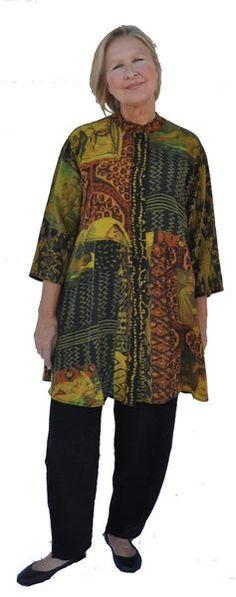 Beautiful grand master art print tunic with coordinating narrow pant…