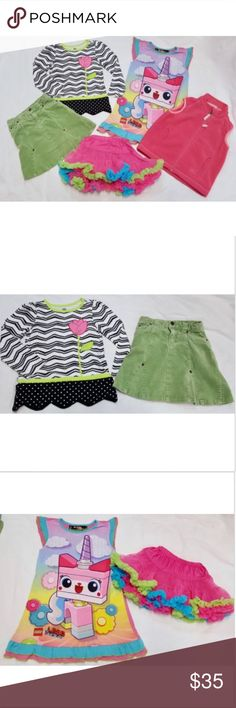 5 Items Girls 4/5 Skirts Tops Vest Nightgown Lot of 5 items  Girls size 4, 4T and 5  #1 - Kids Headquarters long sleeve top. Black & white chevron & dot patterns. Bright green trim w pink tulip design. Size 4T. #2 - Children's Place Stretch skirt. Green corduroy. Size 4. #3 - Lego Movie colorful nightgown or dress. Ruffle sleeves and hem. Size 4/5. #4 - Mudpie Baby ruffled tutu skirt. Bright pink, blue, and green. Size Large. #5 - REI zip up vest. Pink fleece with pockets. Size 4T. Matching…