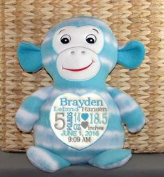 Monogrammed baby gift embroidered monkey made in usa exclusively baby boy gift personalized baby gift embroidered blue print monkey zoo animals wildlife baby boy made in usa exclusively offered here negle Image collections