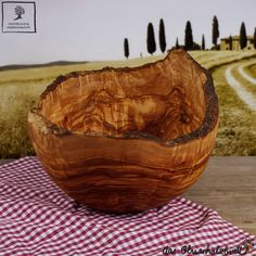 Salad bowl olive wood in a rustic or country cottage style