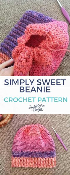Simply Sweet Crochet Beanie Hat Pattern : Crochet this Easy Crochet Beanie Pattern! With this simple step by step tutorial you will know how to crochet a beanie in no time at all! Crochet Beanie Pattern, Crochet Baby Hats, Easy Crochet Patterns, Hat Patterns, Crocheted Hats, Crochet Blankets, Crochet Designs, Crochet Dolls, Free Crochet