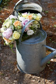 cool idea for somewhere to put bouquets after ceremony - extra decor at reception