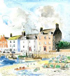 Arbroath seafront East Neuk of Fife Watercdolor - Scottish artist David Tyrrell   | eBay