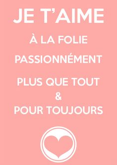 "Limited Edition Valentine's Day Home Decor ""Je T'aime"" Print French Quote I Love You"