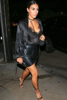 Kim Kardashian rocks all black outfit for night out in Los Angeles (August…