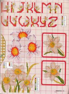 Gallery.ru / Фото #42 - 70 - kento Cross Stitch Heart, Cross Stitch Flowers, Cross Stitching, Cross Stitch Embroidery, Easter Tablecloth, Alphabet Design, Le Point, Daffodils, Daisy Flowers