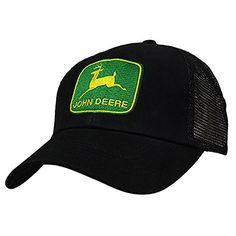 John Deere Men's Vintage Logo Tm Trucker Baseball Cap, Black, One Size
