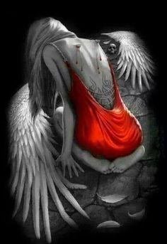 Image IMG 8840 in Fantasy album Sad Angel, Angel And Devil, Gothic Fantasy Art, Fantasy Kunst, Fallen Angel Tattoo, Neck Tatto, Look Wallpaper, Angel Artwork, Angel Drawing