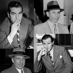 """Smooth Criminals Clockwise from top-left: Charles """"Lucky"""" Luciano, Meyer Lansky, Benjamin """"Bugsy"""" Siegel, Frank Costello Real Gangster, Mafia Gangster, Italian Mobsters, Bugsy Siegel, Frank Costello, Mafia Crime, The Big Boss, Current Mood Meme, Ny Style"""