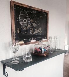Kitchen decor #chalkboard #shelf #glass #diy