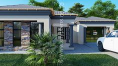3 Bedroom House Plan MLB 008.1S - My Building Plans South Africa 6 Bedroom House Plans, Floor Plan 4 Bedroom, Square House Plans, My House Plans, My Building, Building Plans, Small Contemporary House Plans, Tuscan House Plans, House Plans South Africa