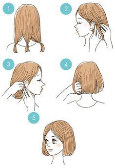 Make long hair short Cute Simple Hairstyles, Pretty Hairstyles, Kawaii Hairstyles, Braided Hairstyles, Hair Scissors, Hair Arrange, Hair Reference, Hair Hacks, Curly Hair Styles